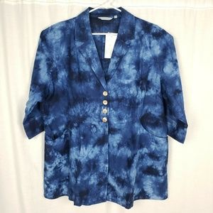 NEW Soft Surroundings Linen Eza Tie Dye Jacket